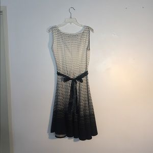 Haani Dresses - Black and White Graduated Haani Dress with Belt
